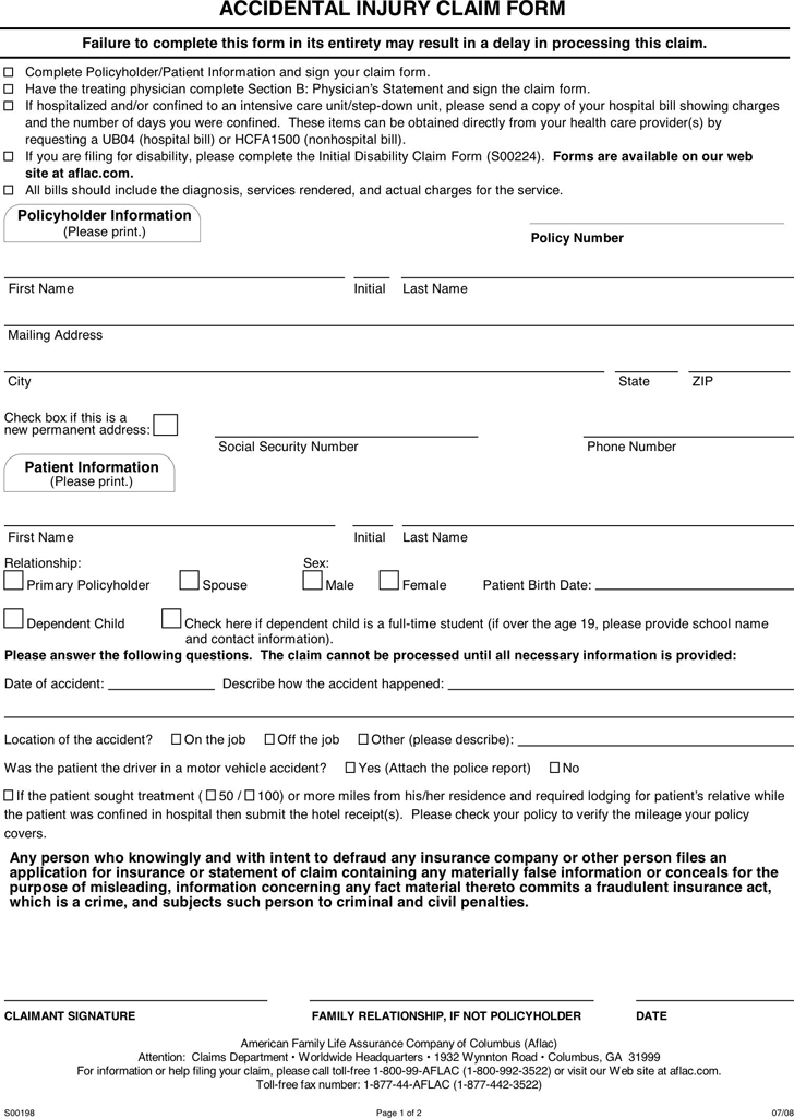 Accidental Injury Claim Form