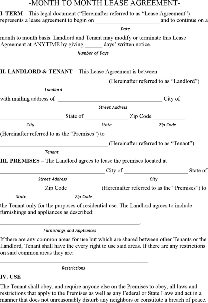 Alaska Month to Month Lease Agreement Form