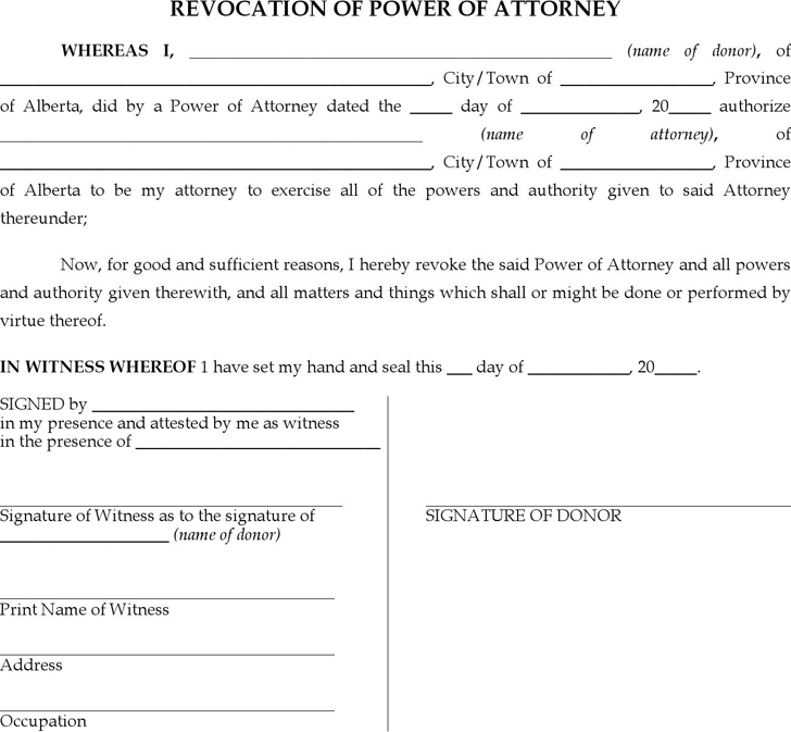 Alberta Revocation of Power of Attorney Form