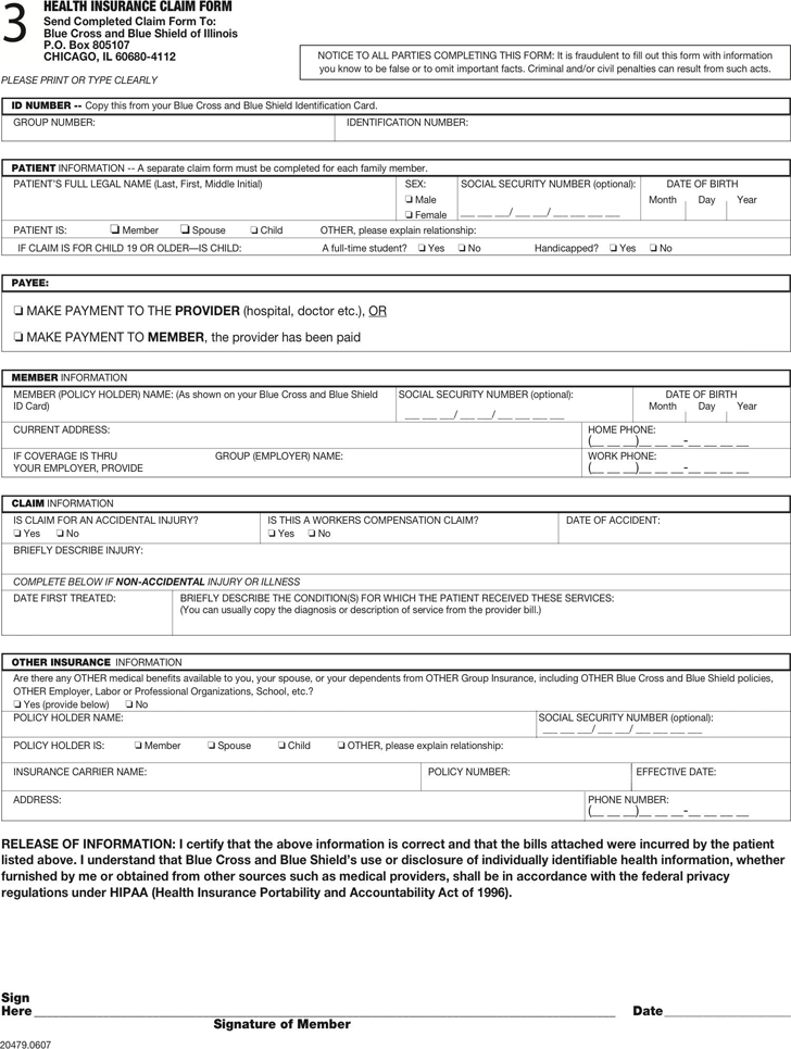 Blue Cross Blue Shield Association Medical Claim Form 2