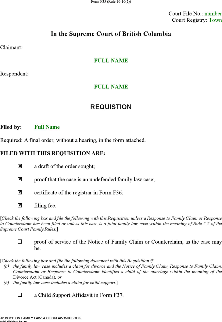 British Columbia Requisition (Sole Claim for Divorce) Form