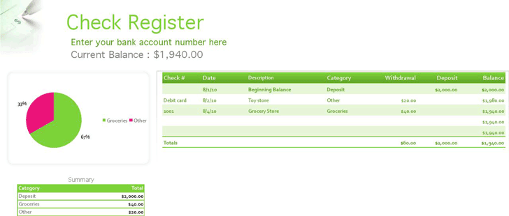 Check Register Template 3