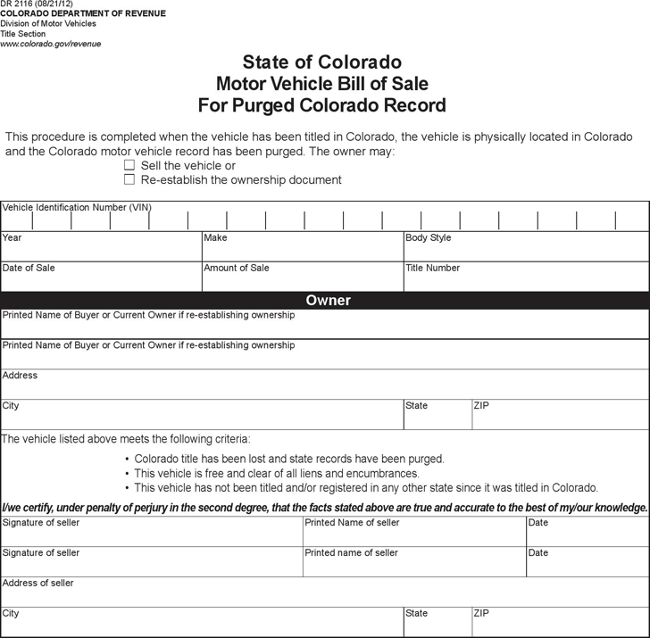 Colorado Vehicle Bill of Sale for Purged Record