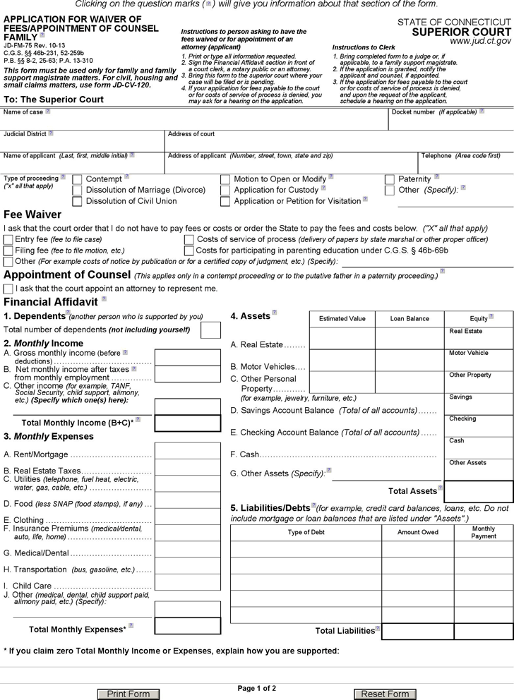 Connecticut Application for Waiver of Fees Form