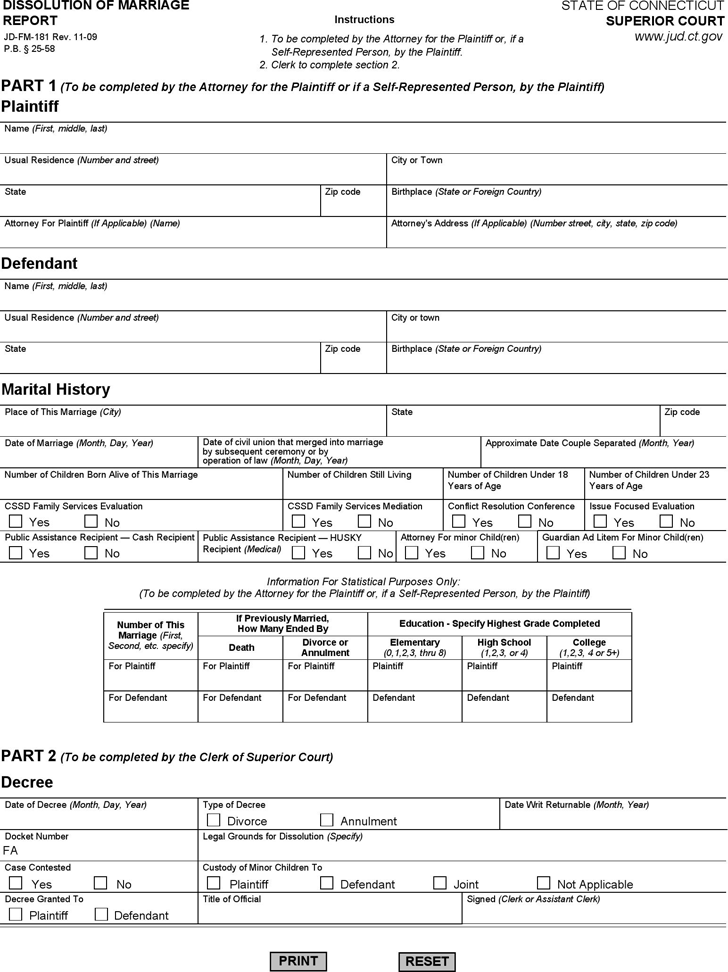 Connecticut Dissolution of Marriage Report Form