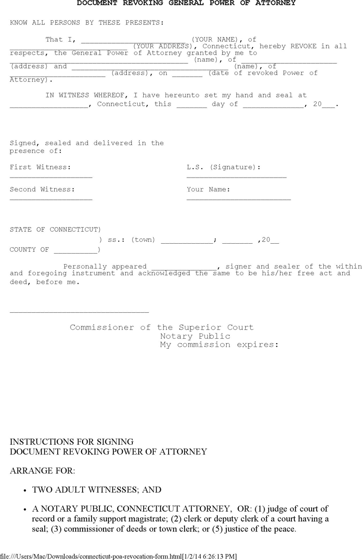 Connecticut Revoking General Power of Attorney Form