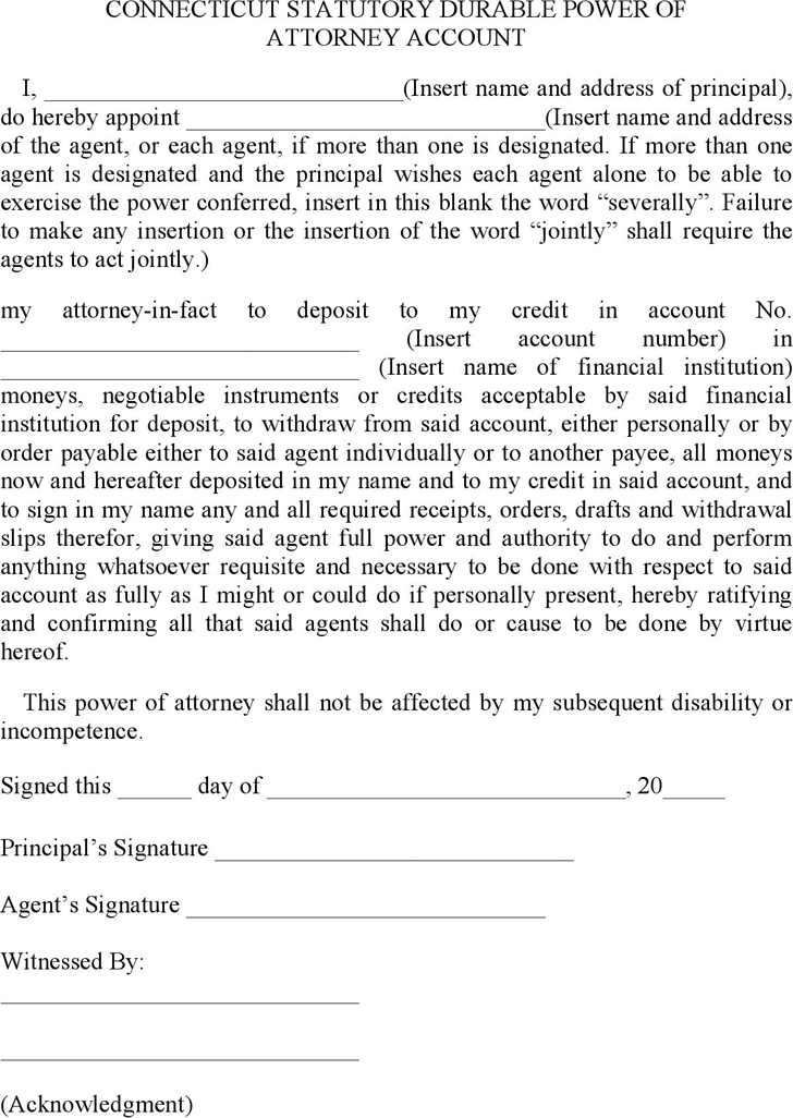 Connecticut Statutory Durable Power of Attorney Account Form