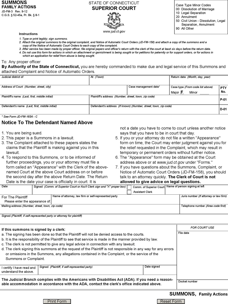 Connecticut Summons Family Actions Form