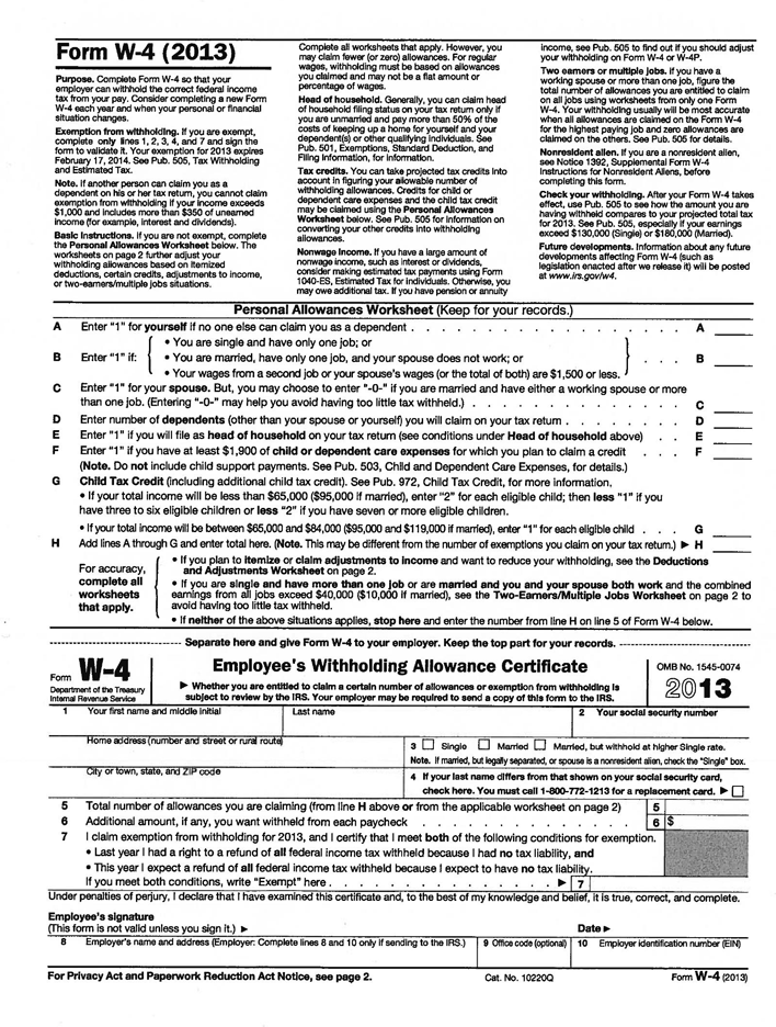 Delaware Form W-4 (2013)