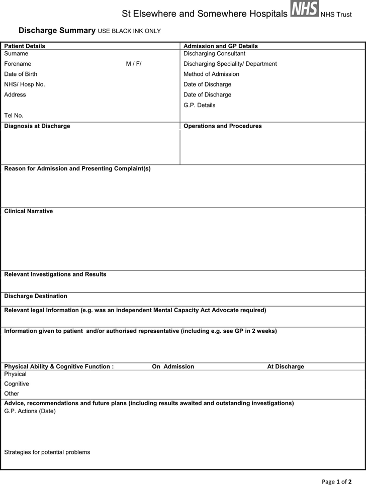 Discharge Summary Template 1
