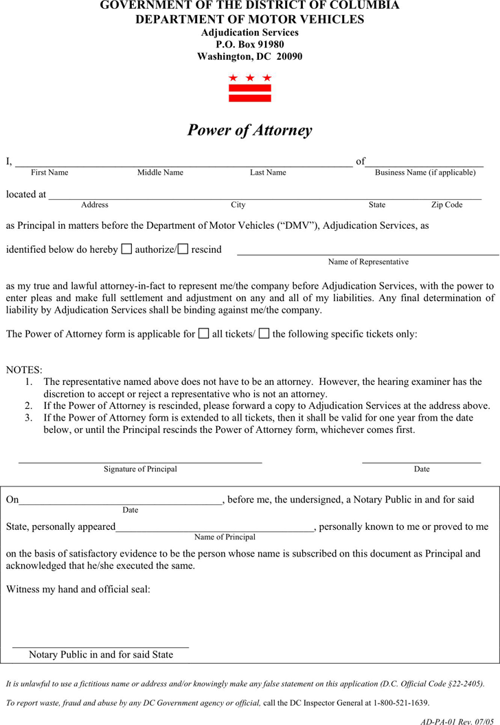 District of Columbia Motor Vehicle Power of Attorney Form