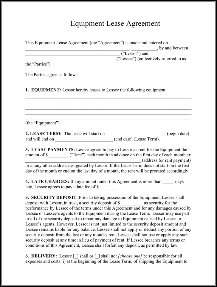 Equipment Lease Agreement 1