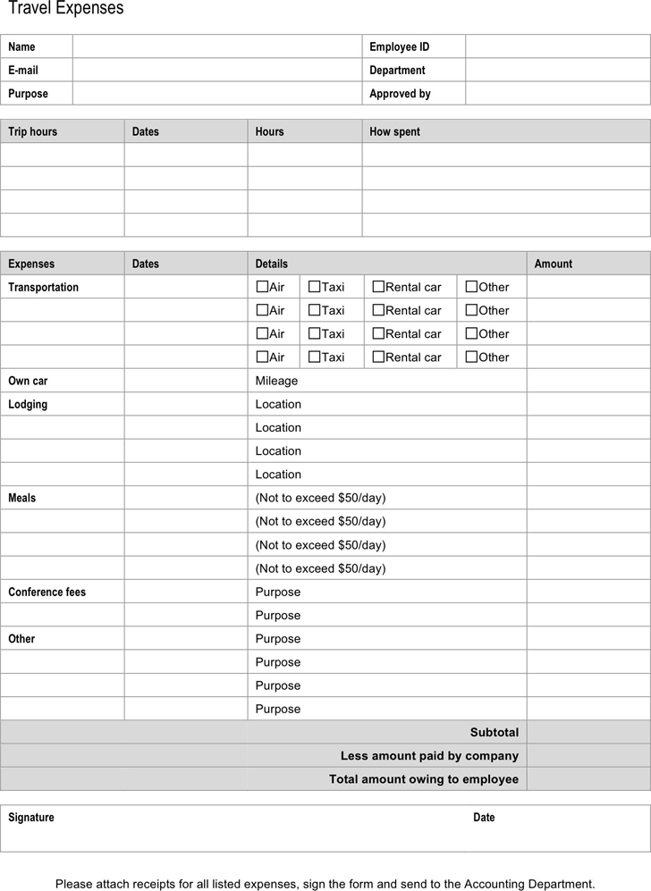Expense Report Form 1