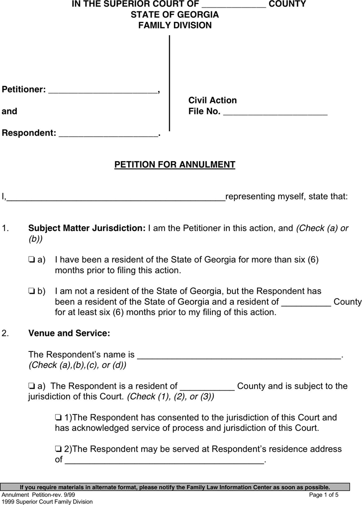 Georgia Petition For Annulment