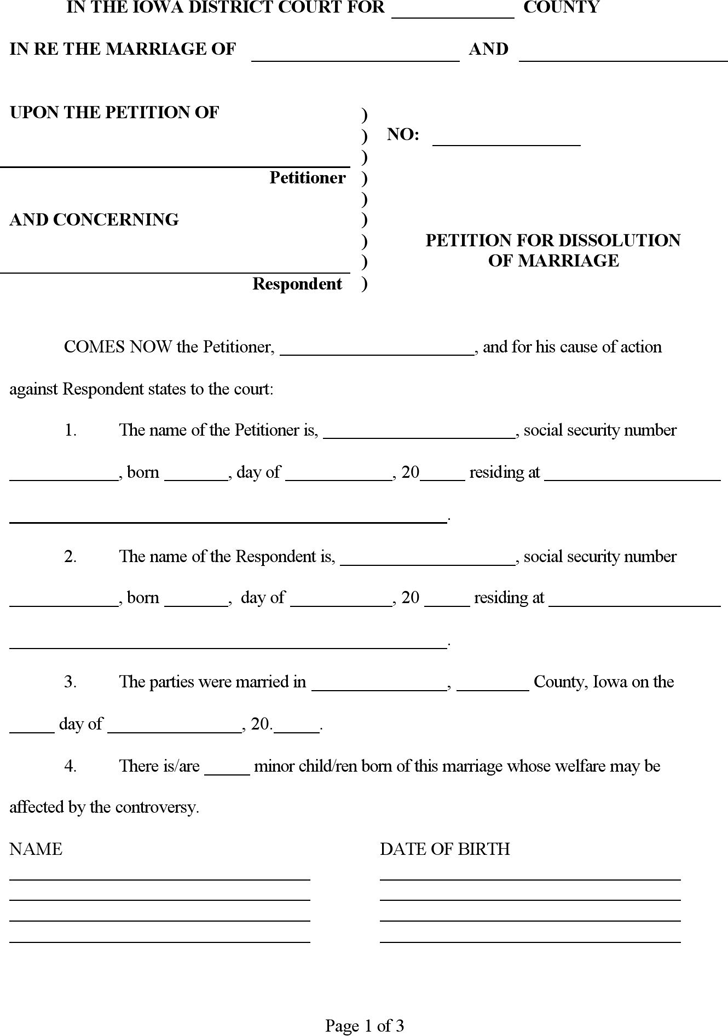 Iowa Petition for Dissolution of Marriage Form