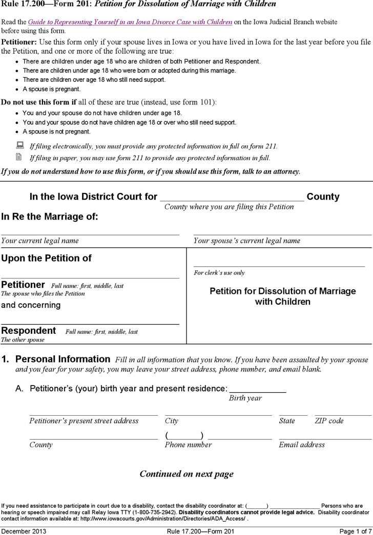 Iowa Petition for Dissolution of Marriage with Children Form