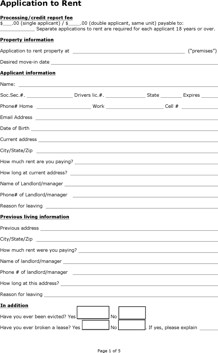 Kentucky Rental Application Form