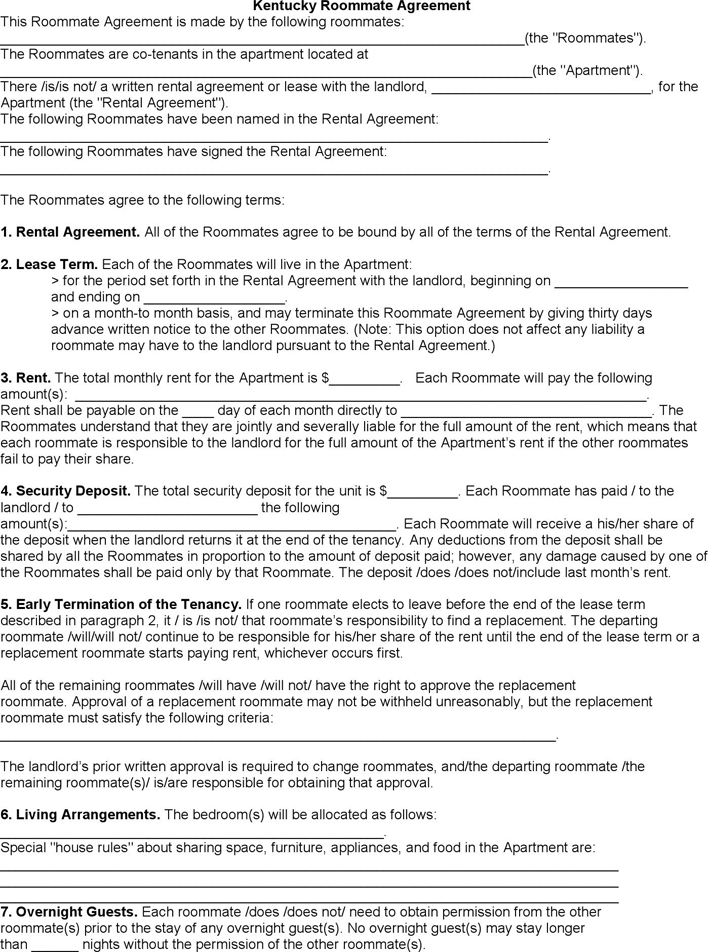 Kentucky Roommate Rental Agreement