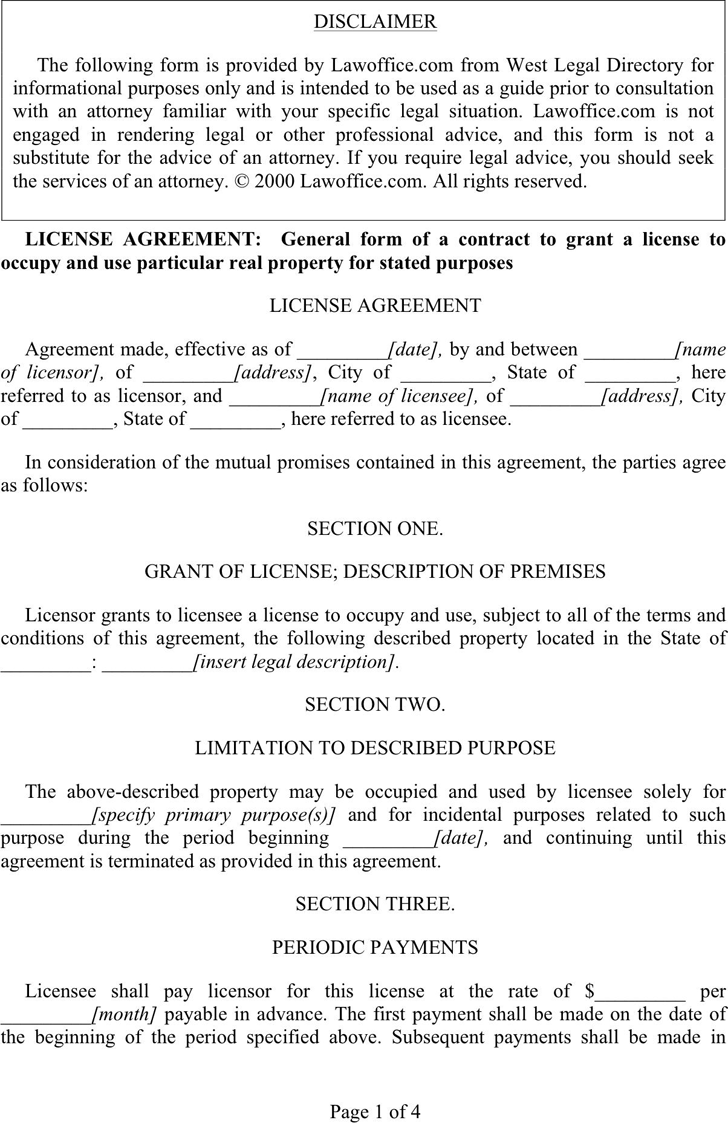 License Agreement Template 1