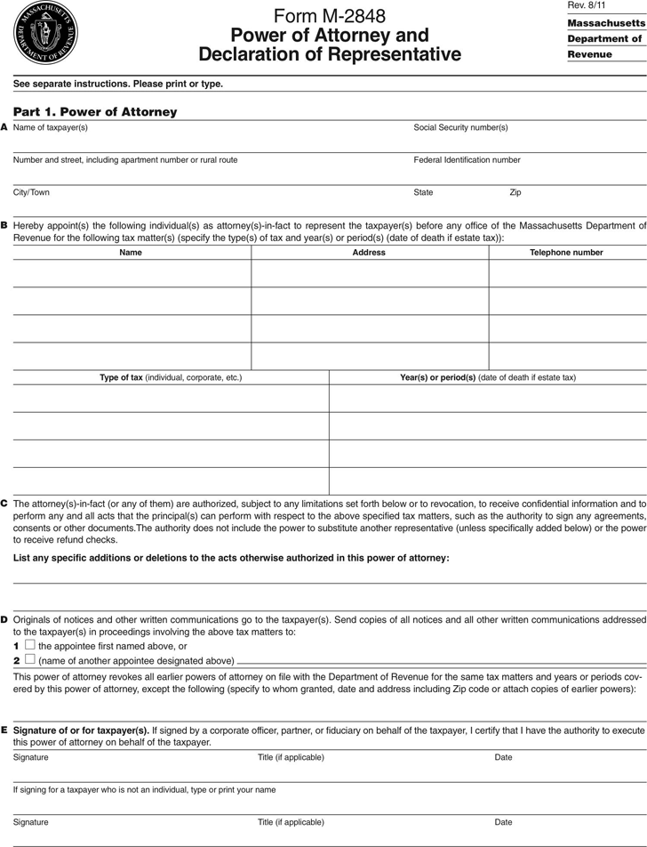 Massachusetts Tax Power of Attorney Form