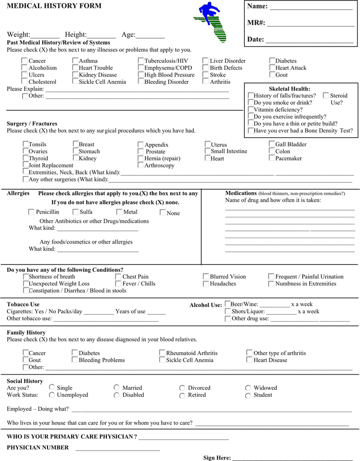 Medical History Form 2