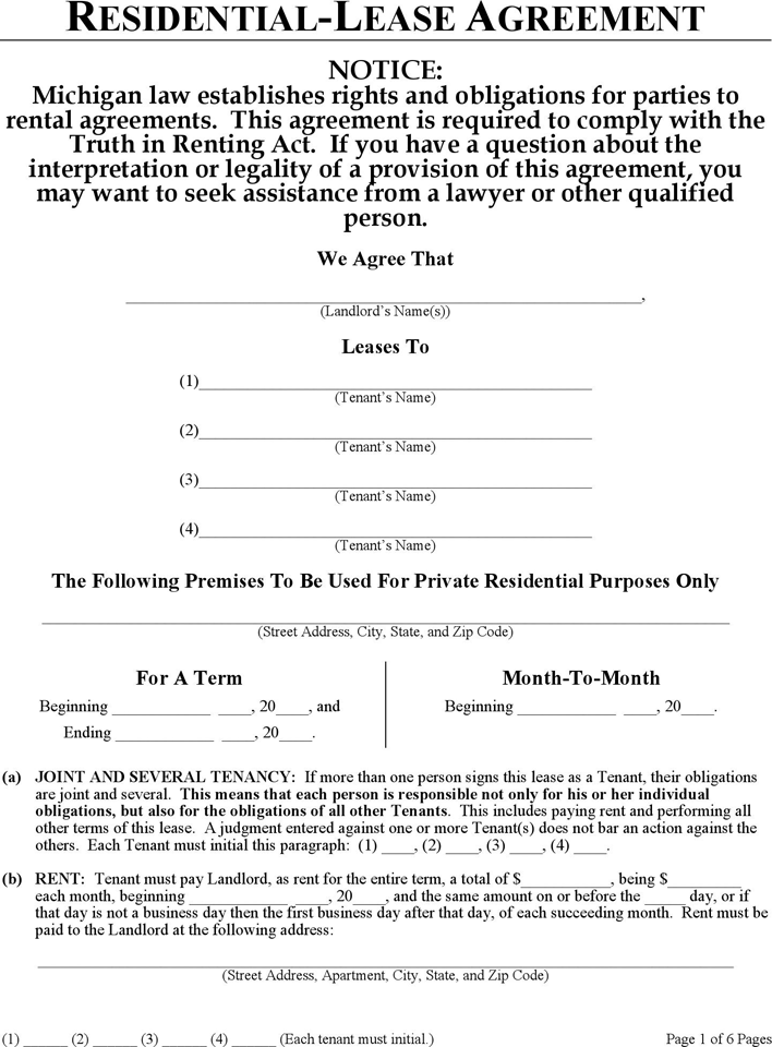 Free Michigan Residential Lease Agreement Form Pdf
