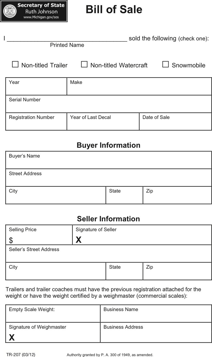 Michigan Vehicle Bill of Sale Form