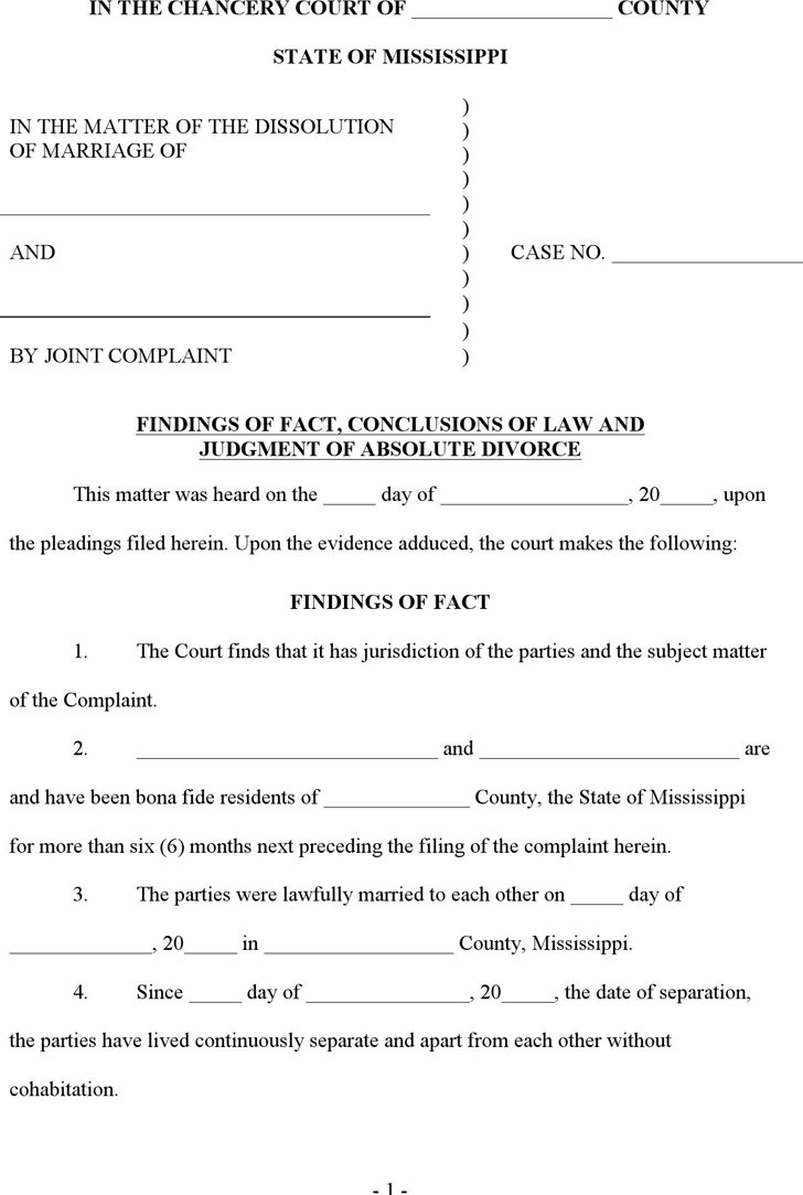 Mississippi Final Judgment of Absolute Divorce Form