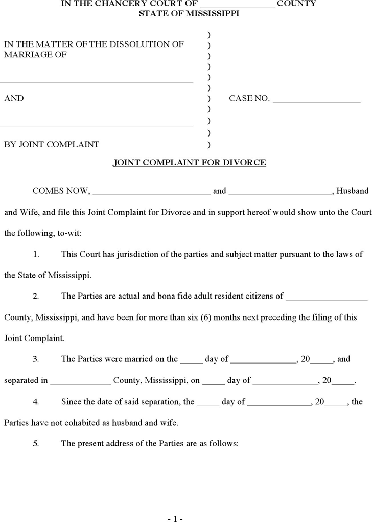 Mississippi Joint Complaint for Absolute Divorce Form