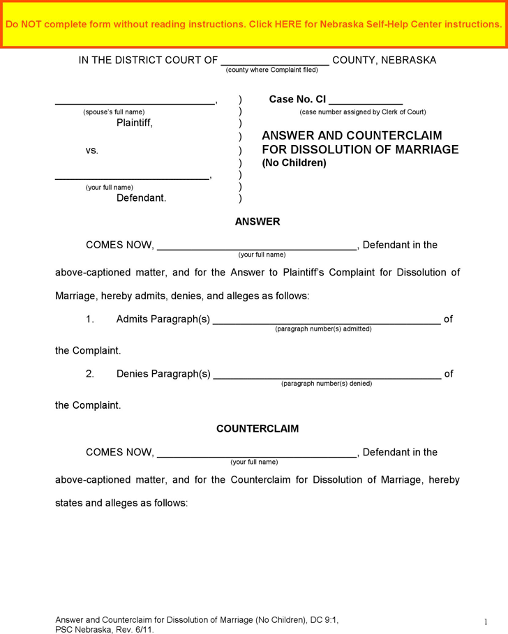 Nebraska Answer and Counterclaim for Dissolution of Marriage (No Children) Form