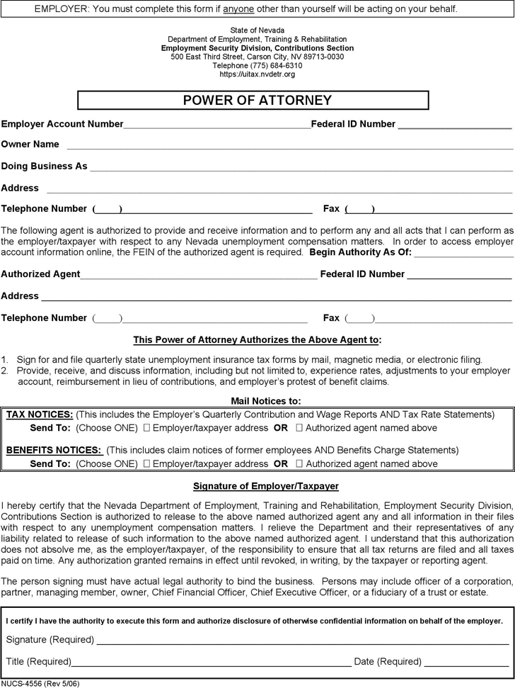 Nevada Employer's Power of Attorney Form