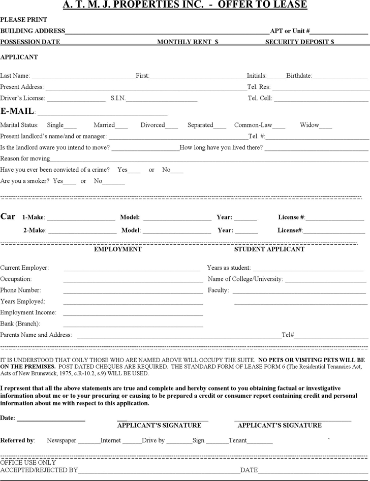 New Brunswick Offer to Lease Form
