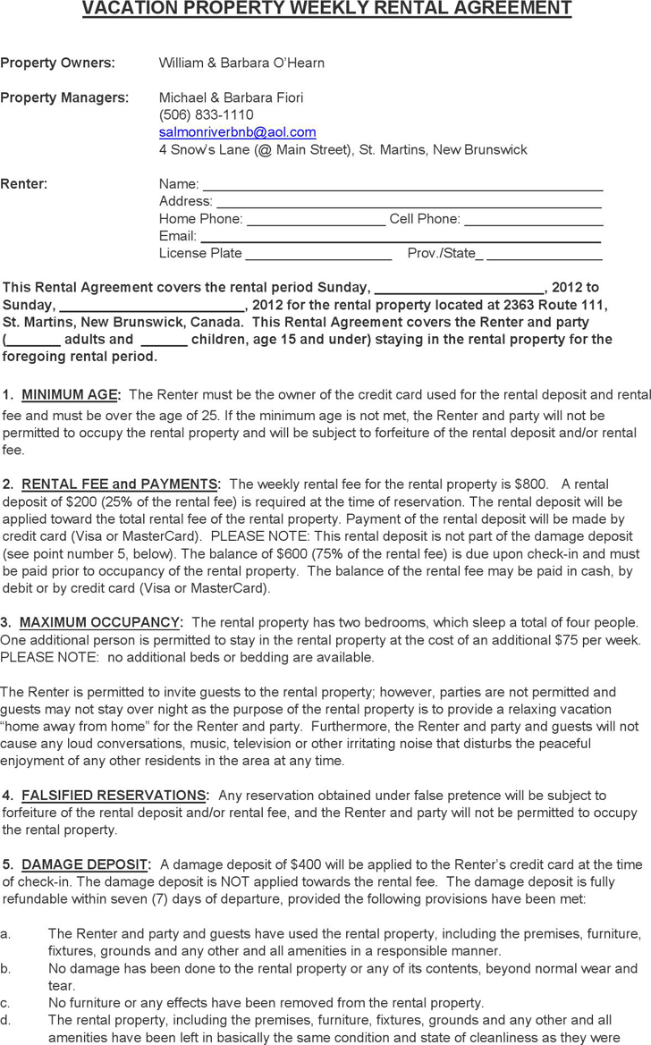 New Brunswick Vacation Property Weekly Rental Agreement Form