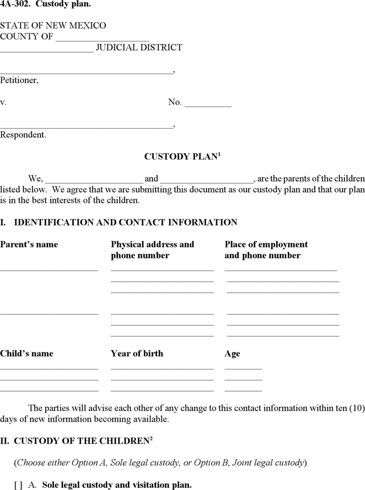 New Mexico Custody Plan Form