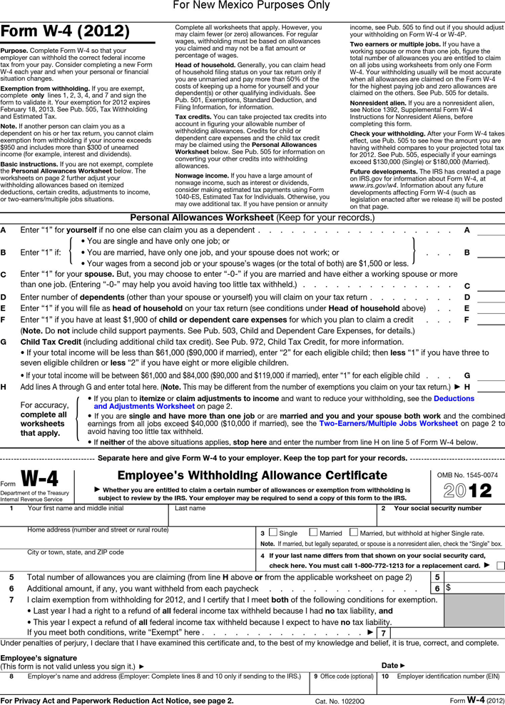 New Mexico Form W-4 (2012)