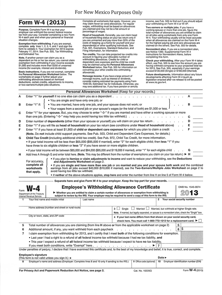 New Mexico Form w-4 (2013)