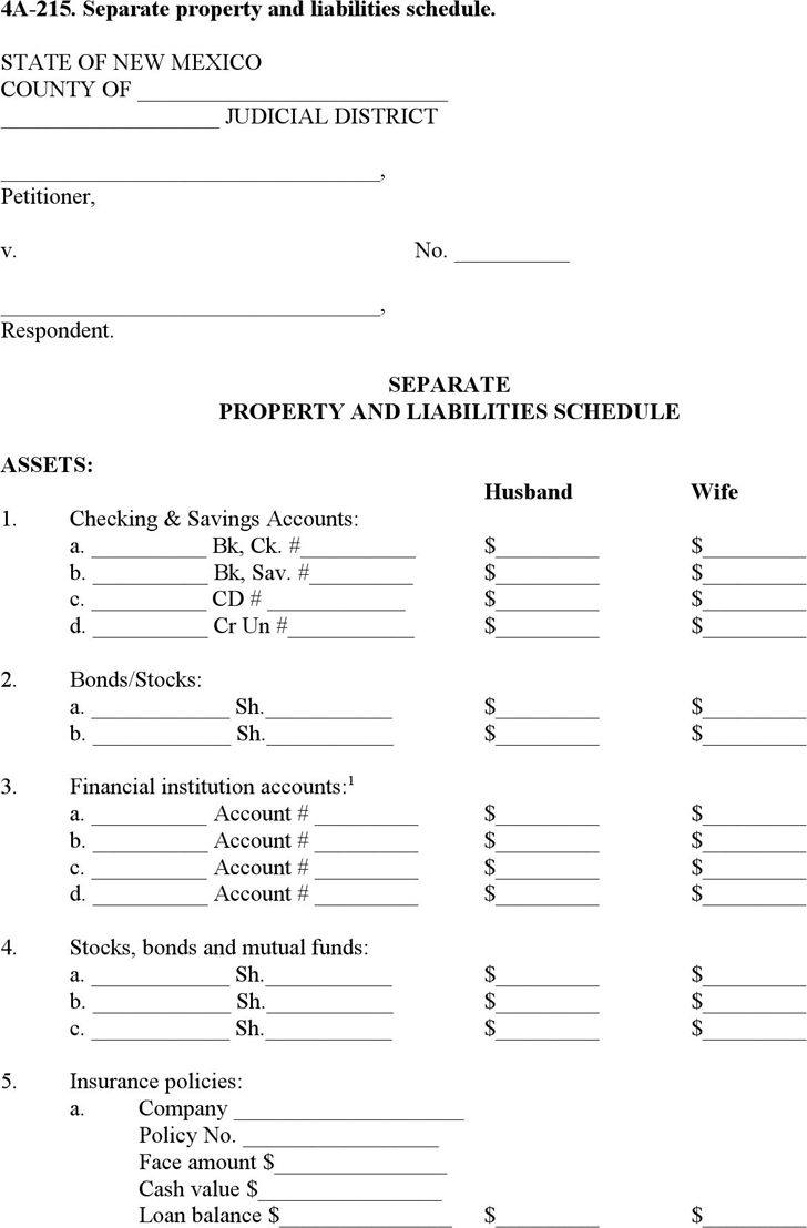 New Mexico Separate Property and Liabilities Schedule Form