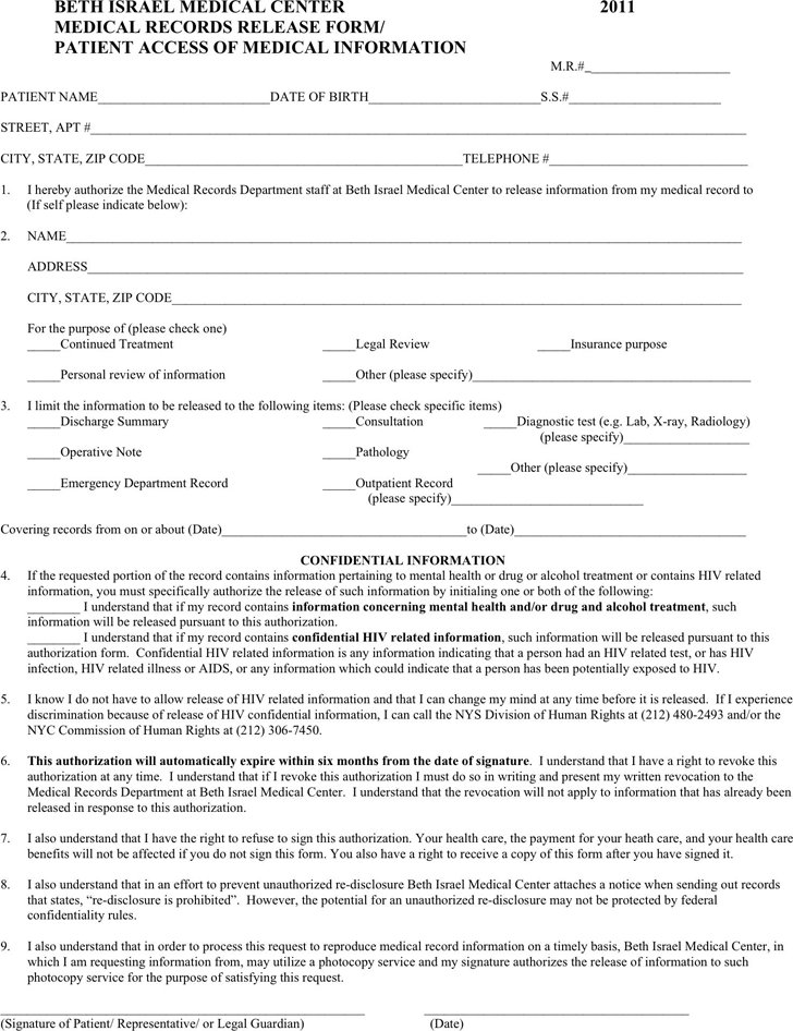 medical records release form generic