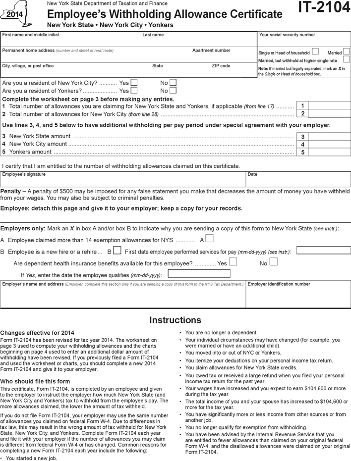 NY IT-2104 Employee's Withholding Allowance Form
