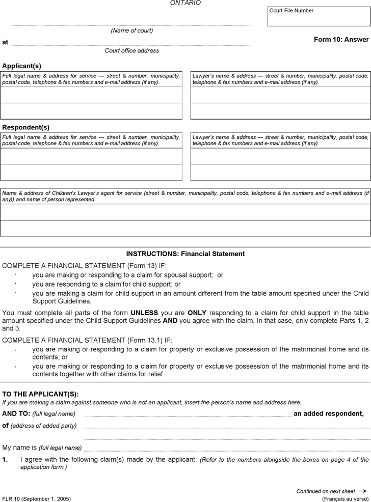 Ontario Answer Form