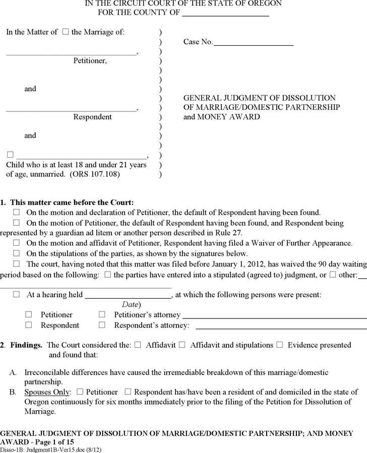 Oregon General Judgment of Dissolution and Money Award (with Children) Form