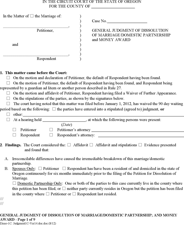 Oregon General Judgment of Dissolution and Money Award (without Children) Form