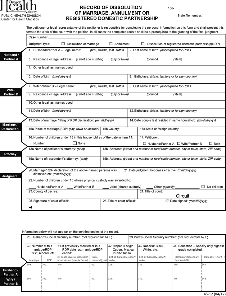 Oregon Record of Dissolution of Marriage, Annulment, or Registered Domestic Partnership-REQUIRED Form