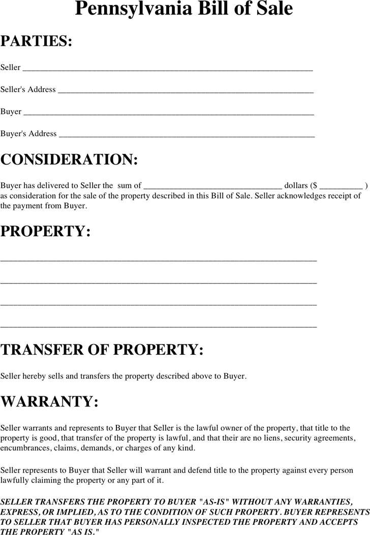 Pennsylvania Property Bill of Sale Form
