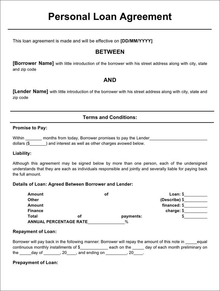 Personal Loan Agreement Form 2