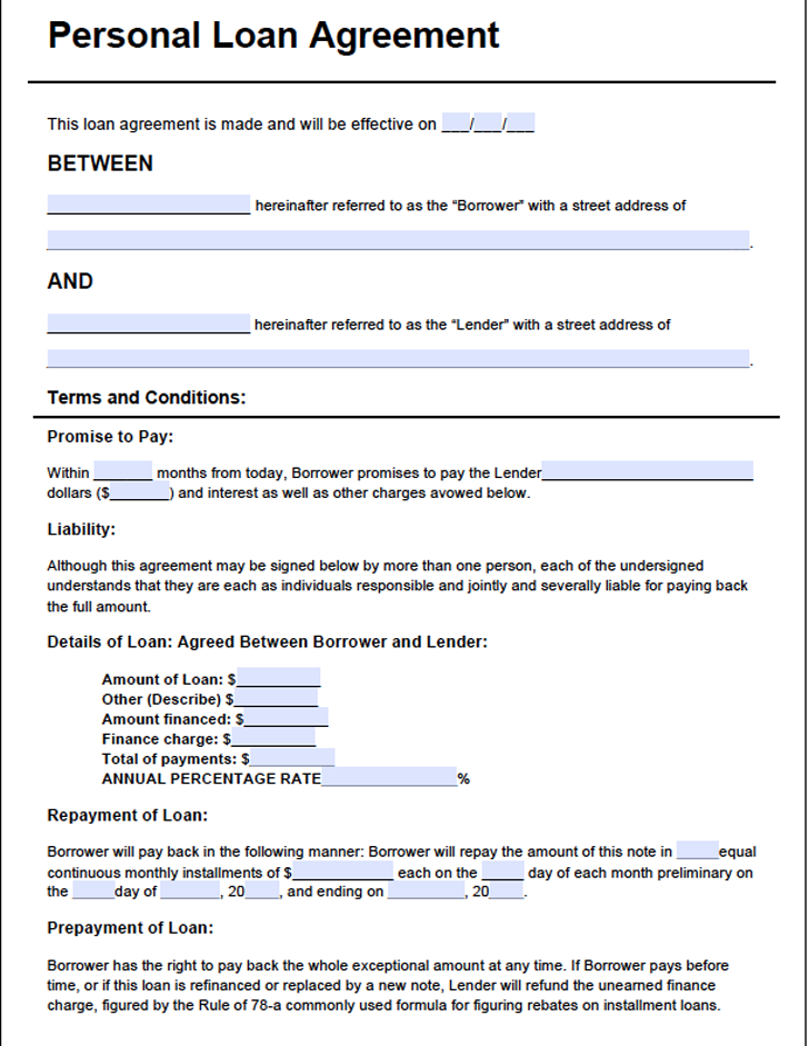 Personal Loan Agreement Form 3