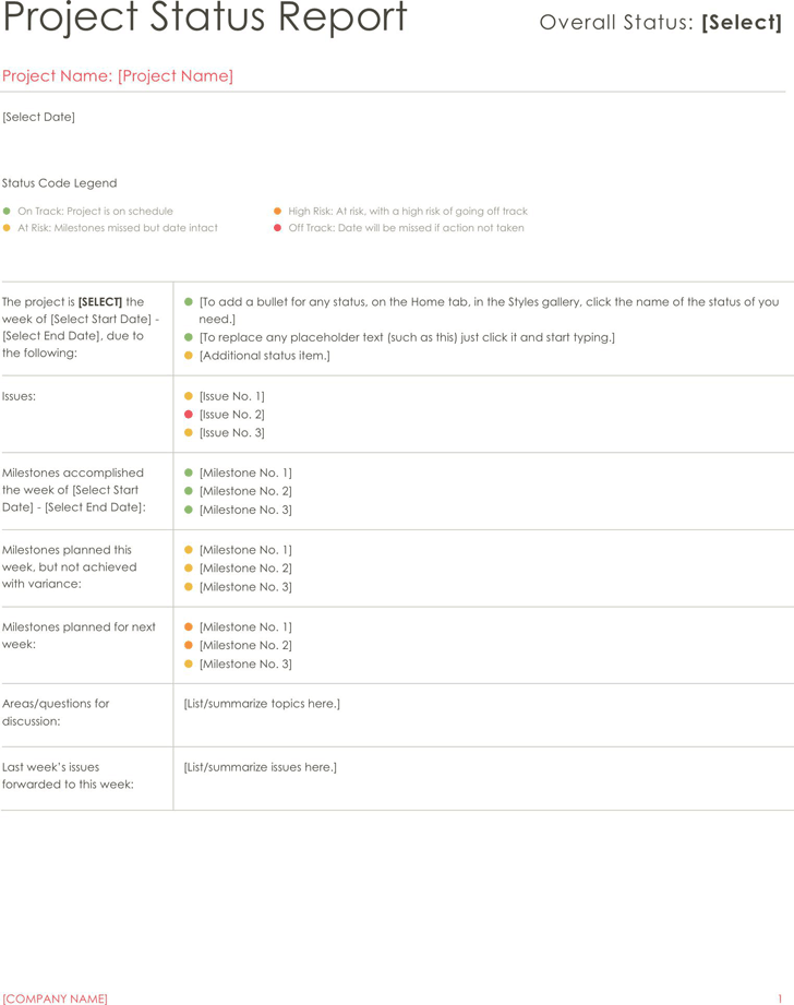 Project Status Report Template 2