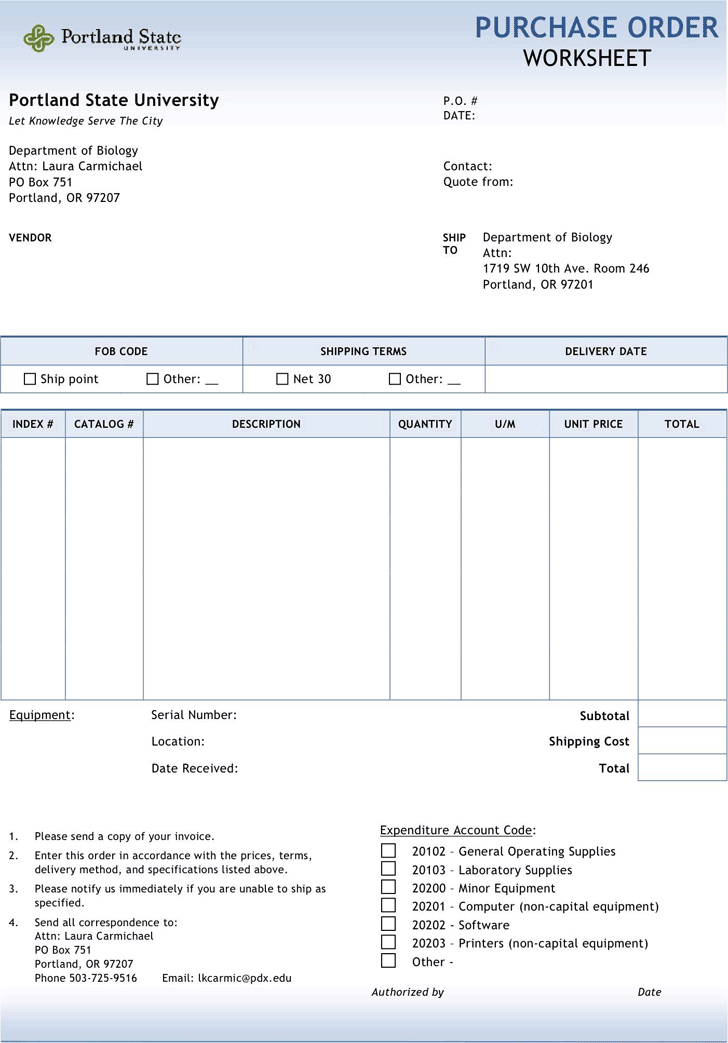 Purchase Order Template 3