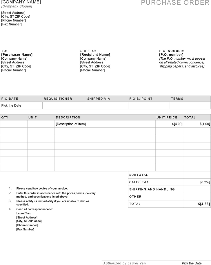 Purchase Order Template 4
