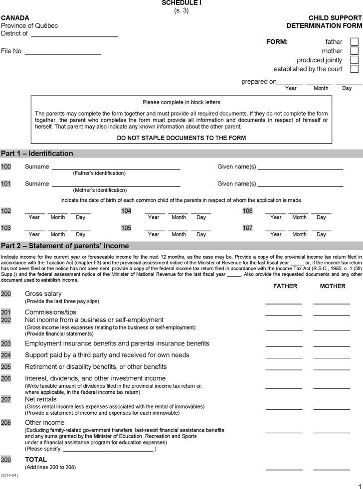 Quebec Child Support Determination Form